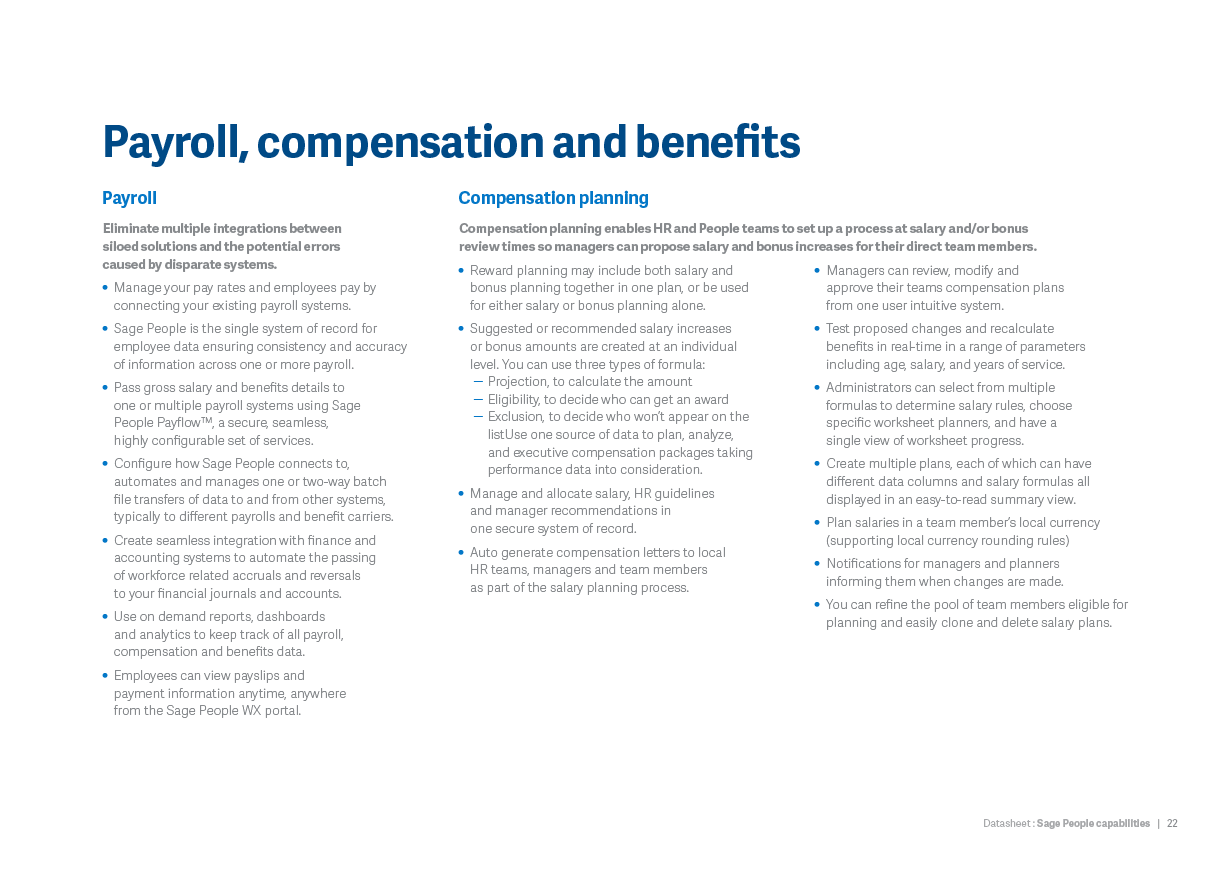 Payroll, compensation and benefits