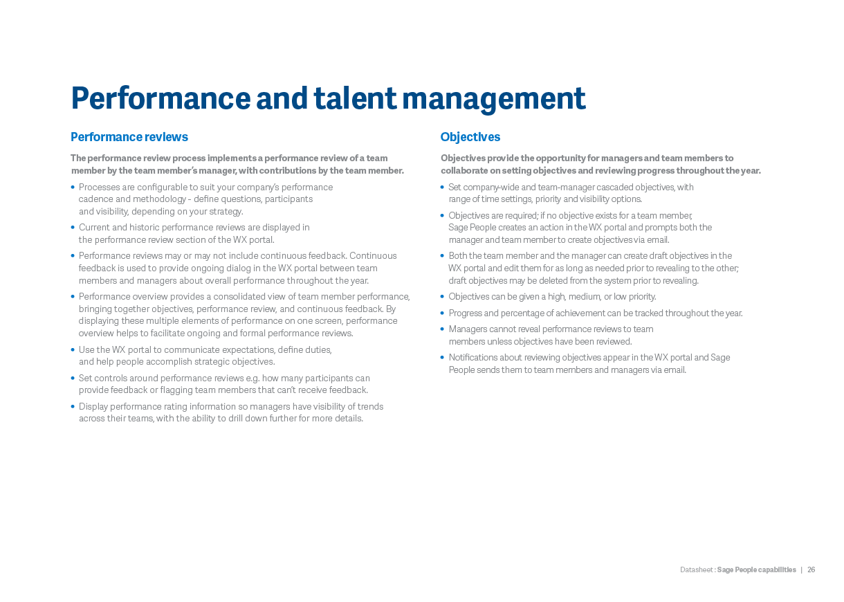 Performance and talent management